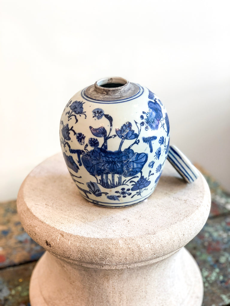 Blue & White Floral Lidded Urn