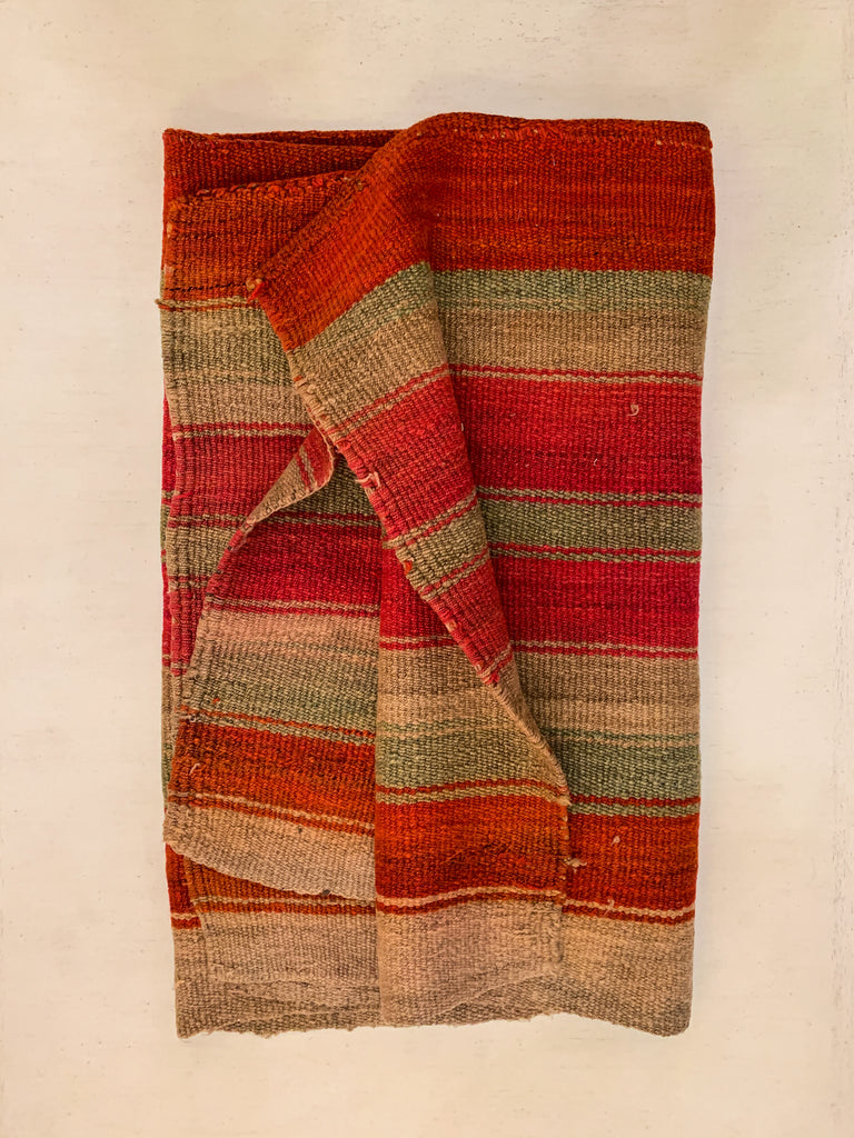 Vintage Green & Red Stripe Bolivian Rug/Blanket