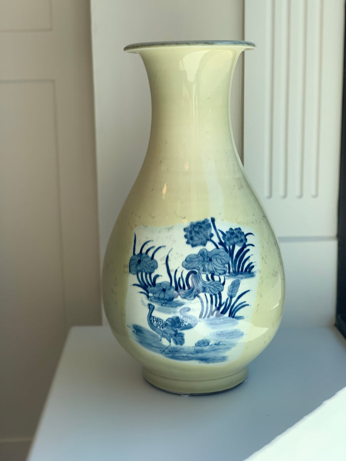 Vintage Blue & White Vase with Celadon