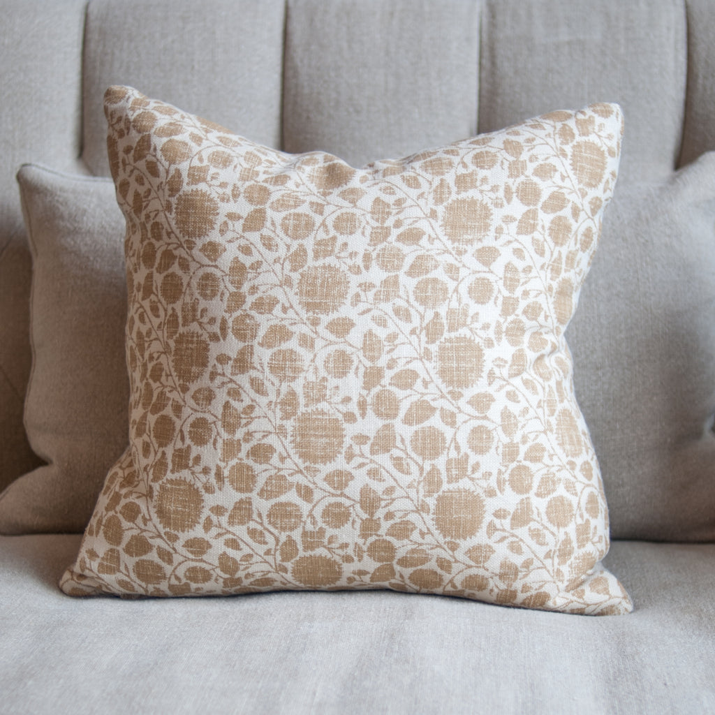 Custom Pillow in Ochre Pattern with Feather and Down Insert