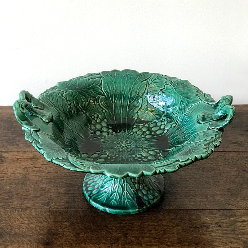 Vintage Green Majolica Footed Bowl