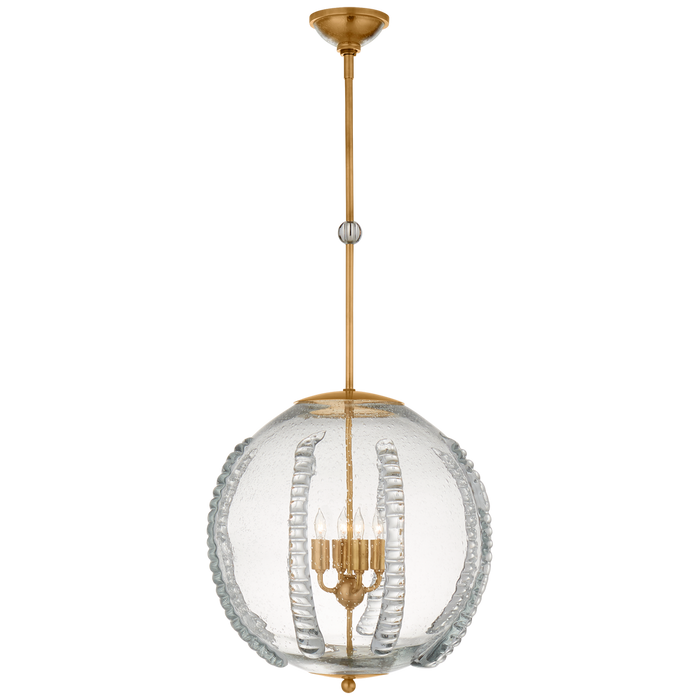 Gisela Globe Pendant in Antique Brass with Seeded Glass