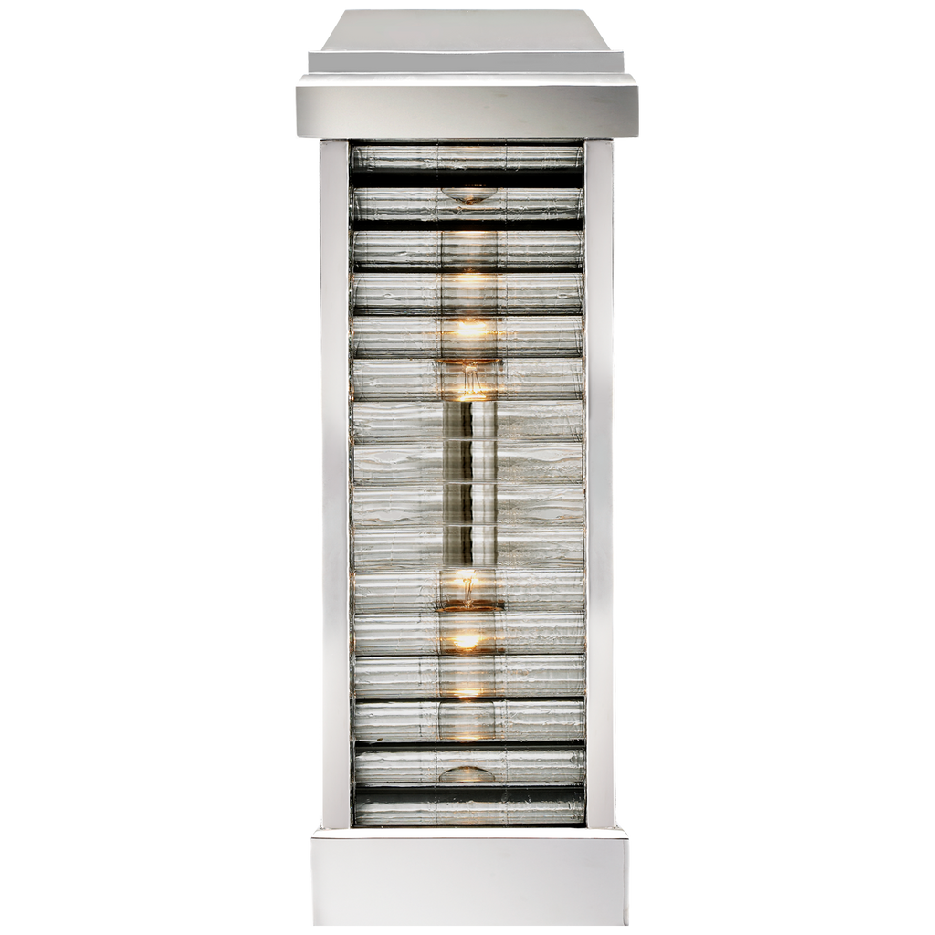 Dunmore Curved Glass Louver Sconce with Clear Ribbed Glass