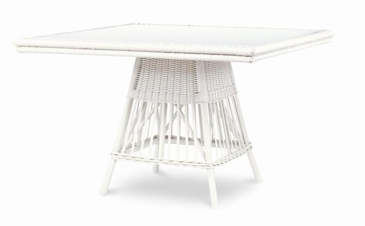 Mainland Wicker Square Dining Table with Tempered Glass
