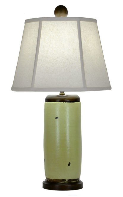 Apple Green Ceramic and Wood Table Lamp