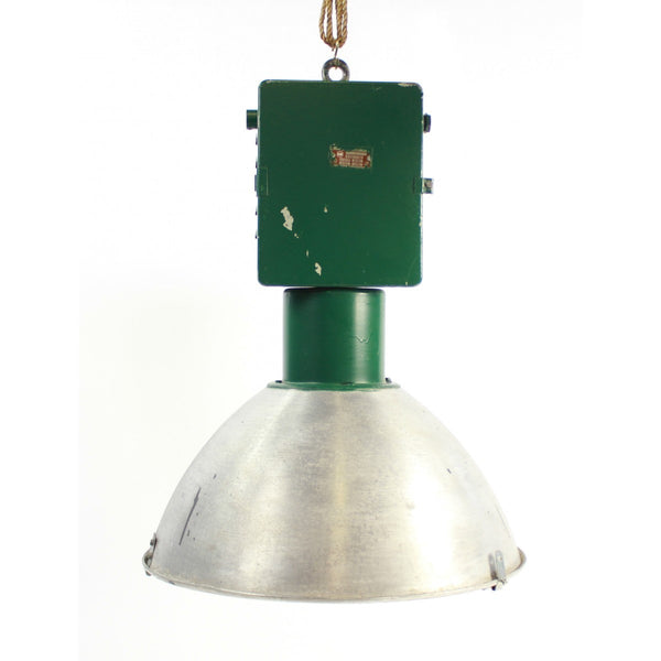 1950's Aluminium and Green Factory Light