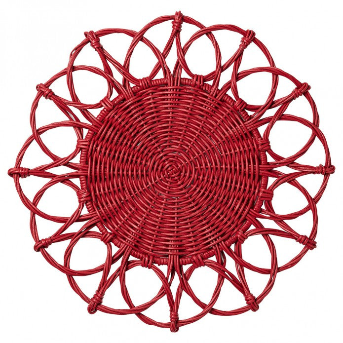 Ruby Wicker Charger