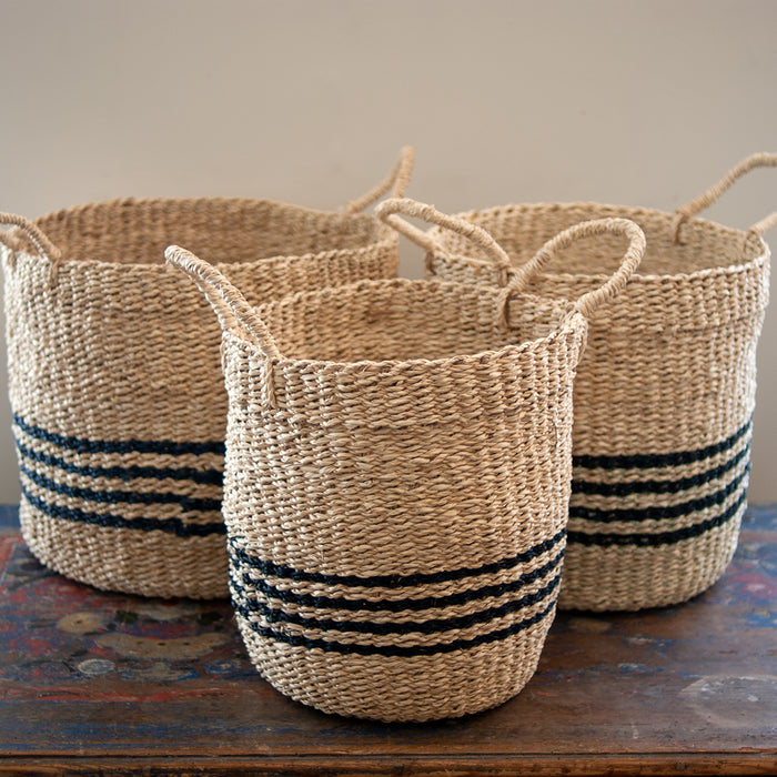 Nantucket Seagrass Baskets - Island Stripe
