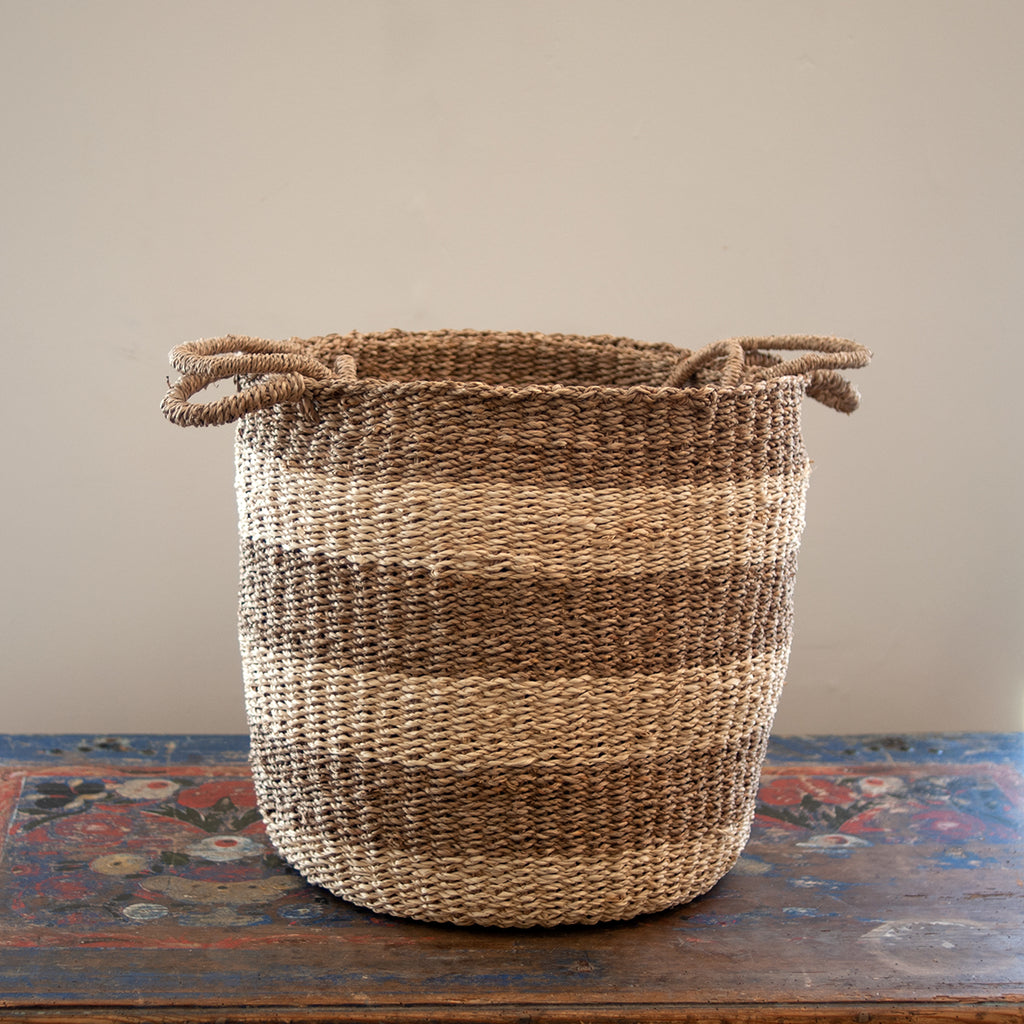 Nantucket Seagrass Baskets - Sea Stripe