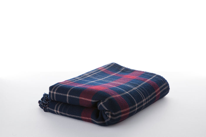 Navy & Maroon Antique Plaid Blanket