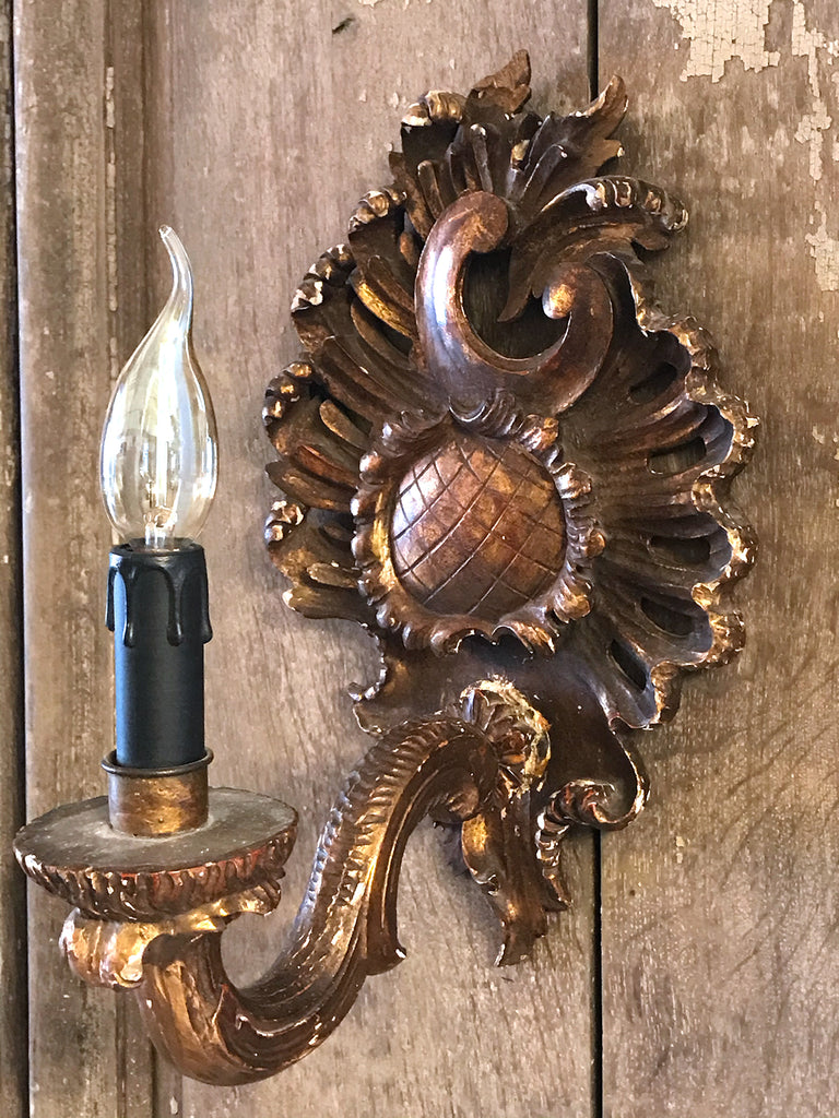 Antique French Panel with Gilded Sconce - 1