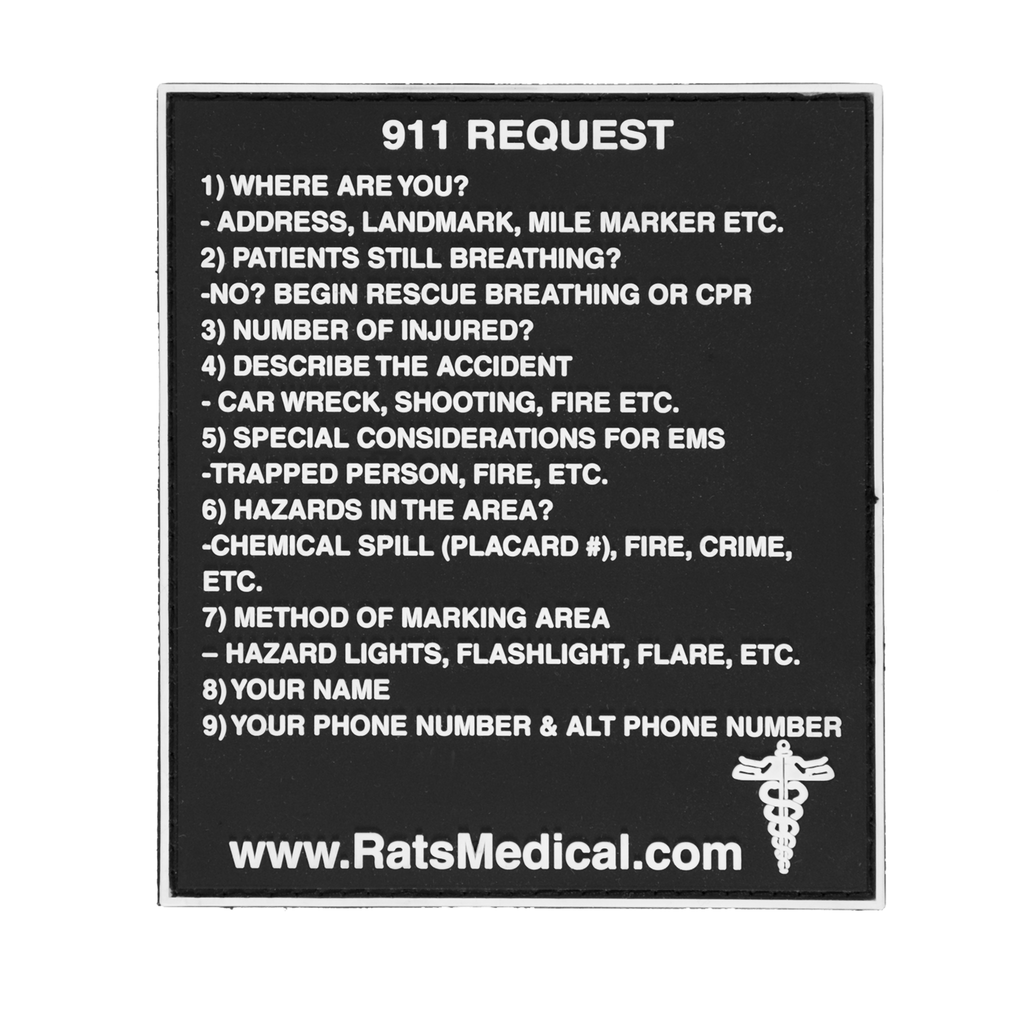 RATS 911 Request Velcro PVC Patch -20 Units for DEALERS (will become free at checkout with $300 order)