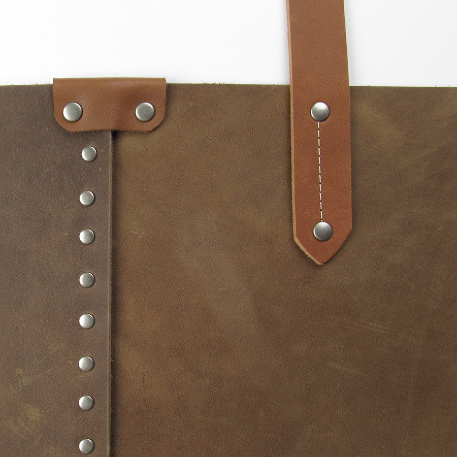 Custom Large Leather Tote Tan