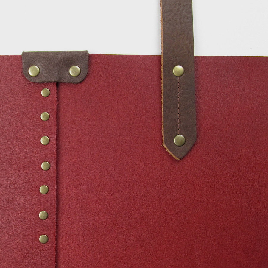 Custom Large Leather Tote Red