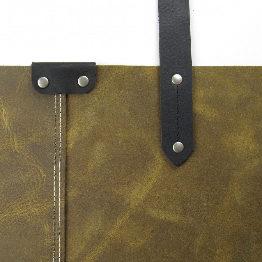 Custom Large Leather Tote Olive