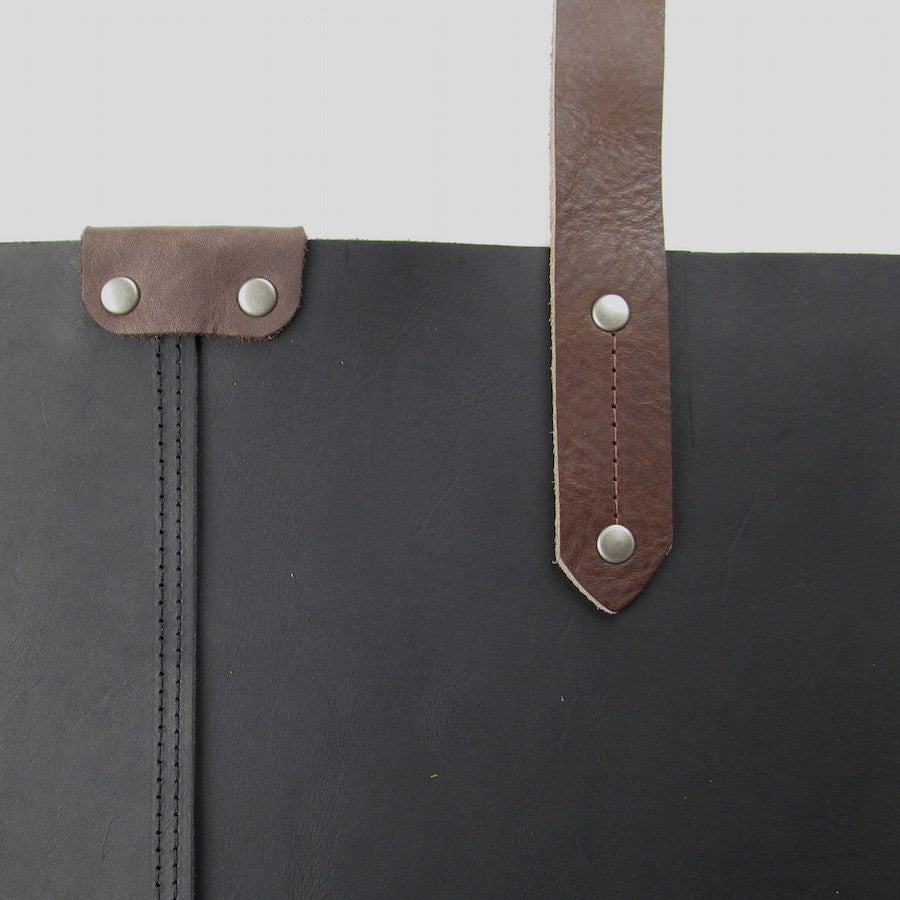 Custom Large Leather Tote Black
