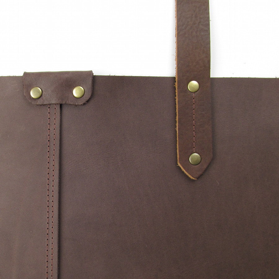 Custom Large Leather Tote Brown