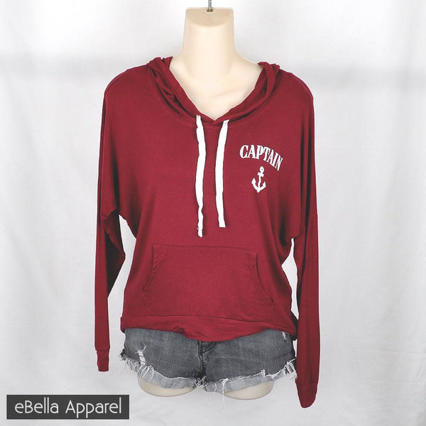 Captain Anchor - Women's Burgundy, High Low, Graphic Print Hoodie Sweatshirt - eBella Apparel