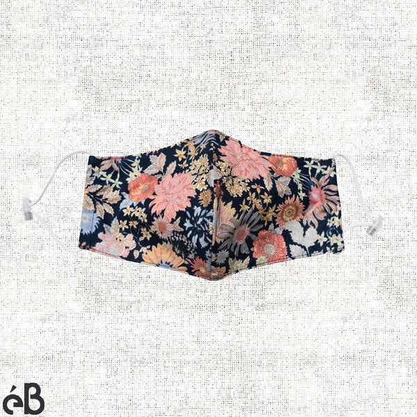 Floral Print II Face Mask, Built-in Filter Pocket and Adjustable Straps - Adult, Lightweight, Breathable, Washable, High Quality - Made in Korea. - eBella Apparel