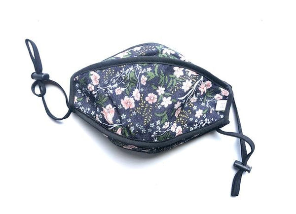 Floral Reversible and Adjustable Face Mask - Adult, Lightweight, Breathable, Top Quality, Made in Korea - eBella Apparel