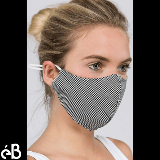 Checker Adjustable Straps Face Mask with Flexible Nose Wire and Filter Pocket - Adult, High Quality, Lightweight, Breathable - Made in Korea - eBella Apparel