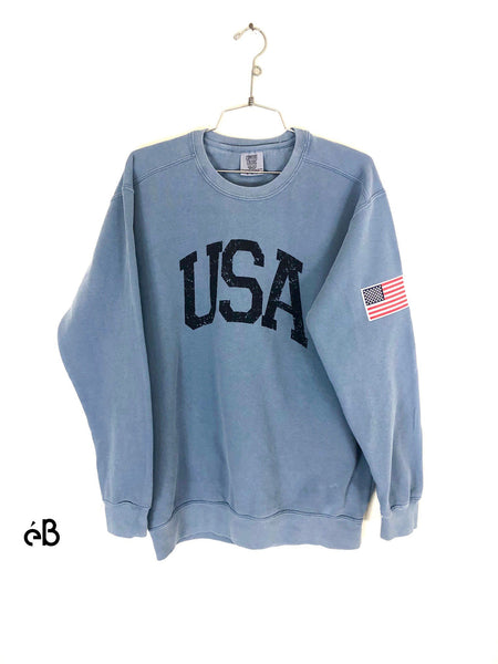 womens usa crewneck sweatshirt blue jean front