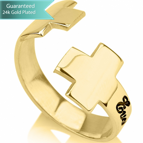 Gold Plated Cross Cuff Ring