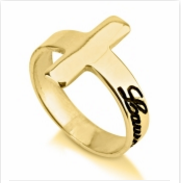 Gold Plated Cross Ring