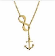 Gold Plated Infinity Anchor Necklace