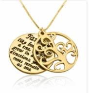 Gold Plated Family of Tree Necklace