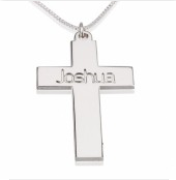 Silver Cross Name Necklace