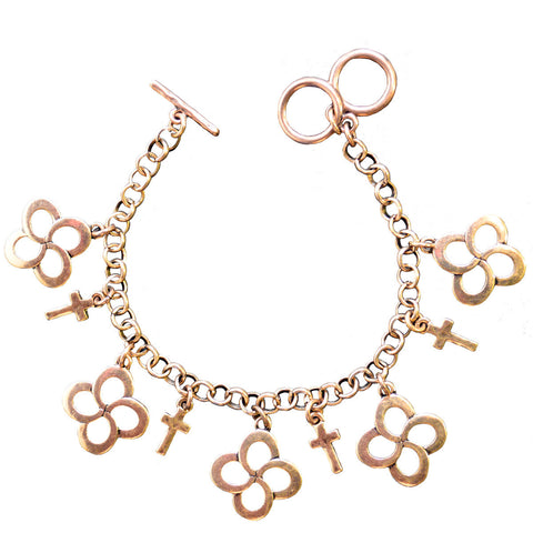 Swirl Cross Gold Women's Bracelet