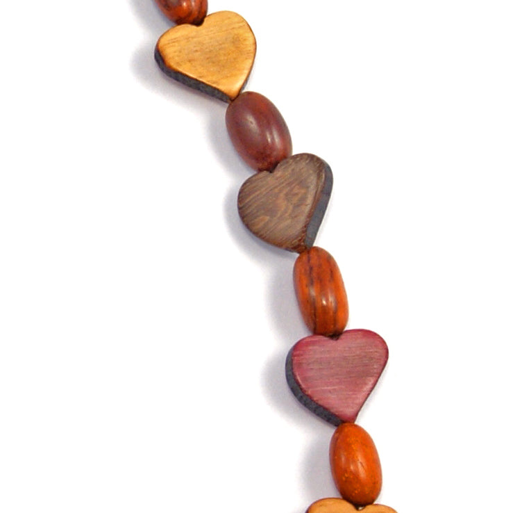 TICA SURF Unique string exotic wood necklace - Mini Hearts- EE2172 - TicaSurf USA