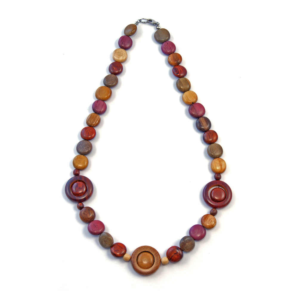 TICA SURF Unique string exotic wood necklace - Multicolor Triple Eyes - EE2180 - TicaSurf USA