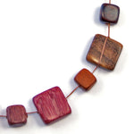 TICA SURF Unique string exotic wood necklace - Multicolor Squares - EE2198 - TicaSurf USA