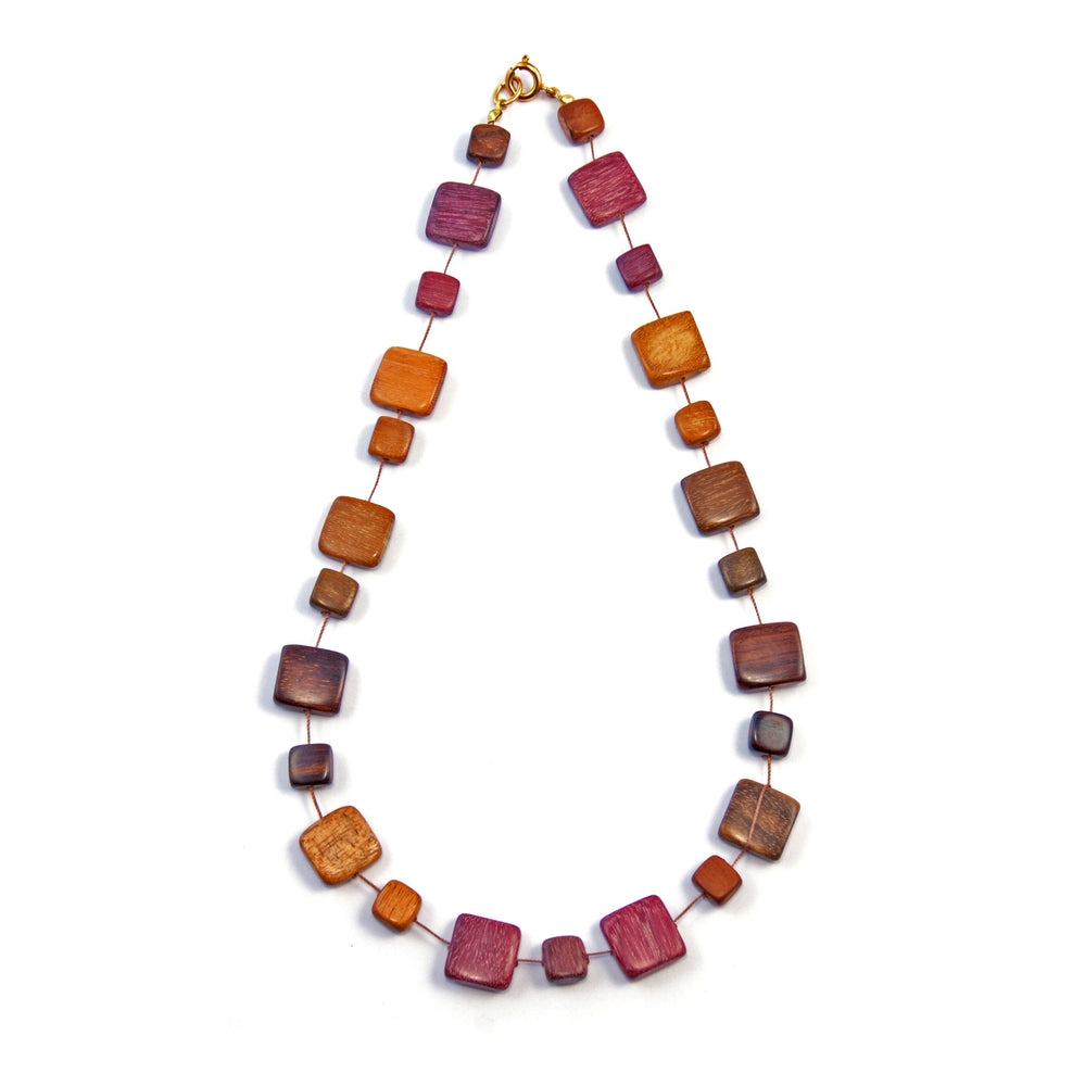TICA SURF Unique string exotic wood necklace - Multicolor Squares - EE2198