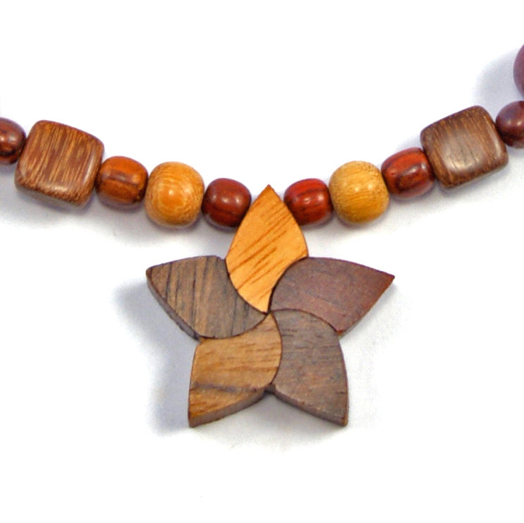 TICA SURF Unique string exotic wood necklace - Star Small - EE2203 - TicaSurf USA