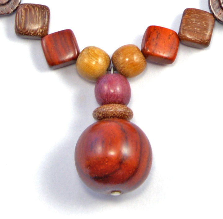 TICA SURF Unique string exotic wood necklace - Sphere Pendant - EE2217 - TicaSurf USA