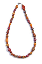 TICA SURF Unique string exotic wood necklace - Simple beads ovals - EE228