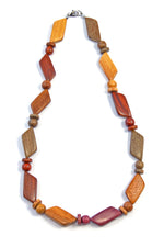 TICA SURF Unique string exotic wood necklace - Multicolor Prism Beads - EE230