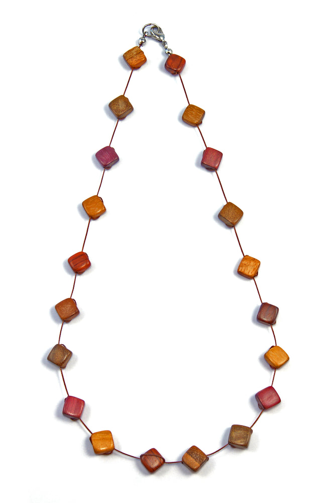 TICA SURF Unique string exotic wood necklace - Loose Square Beads - EE236