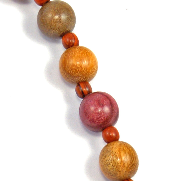 TICA SURF Unique string exotic wood necklace - Alternate small spheres - EE247 - TicaSurf USA