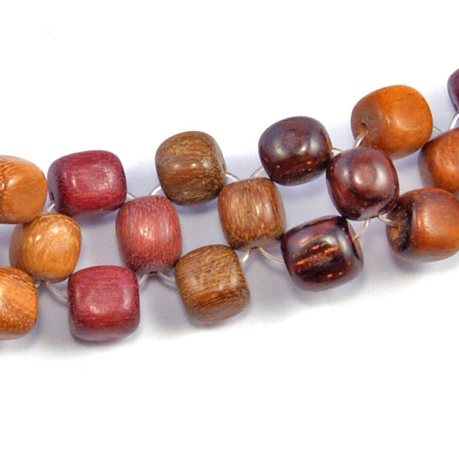 TICA SURF Unique exotic wood choker necklace - Multicolor beads - EE259 - TicaSurf USA