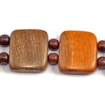 TICA SURF Unique exotic wood choker necklace - Dark rosewood squares - EE265 - TicaSurf USA