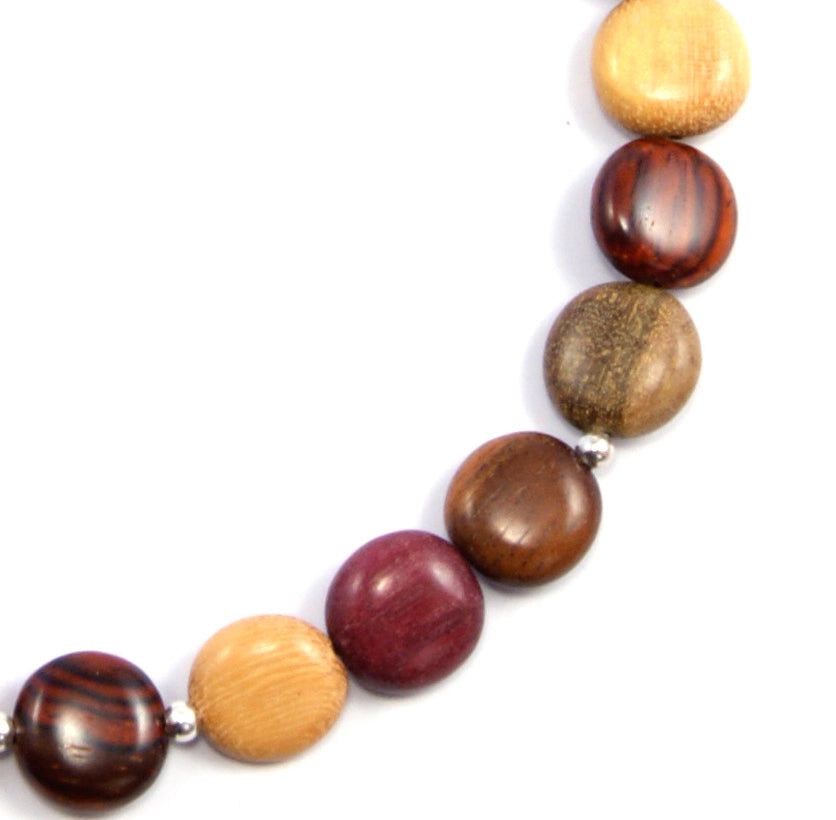 TICA SURF Unique exotic wood necklace - Simple Small Rounds - EE314 - TicaSurf USA