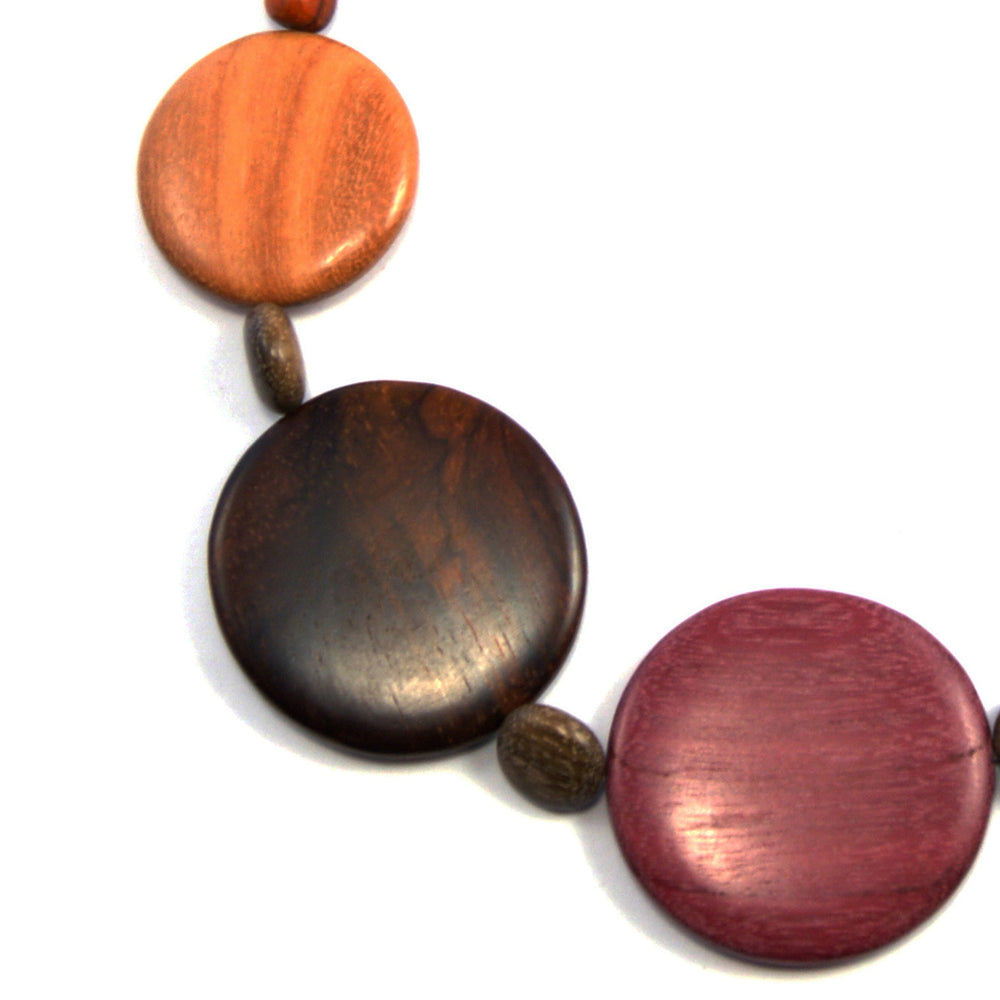 TICA SURF Unique exotic wood necklace - Large multicolor rounds - EE3202 - TicaSurf USA