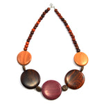 TICA SURF Unique exotic wood necklace - Large multicolor rounds - EE3202