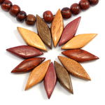 TICA SURF Unique exotic wood necklace - Multicolor Flower - EE3205 - TicaSurf USA