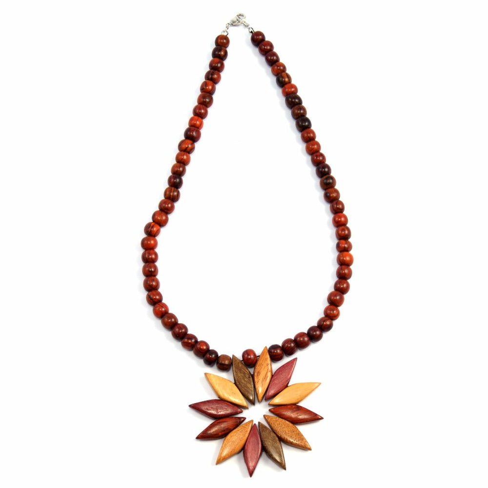 TICA SURF Unique exotic wood necklace - Multicolor Flower - EE3205