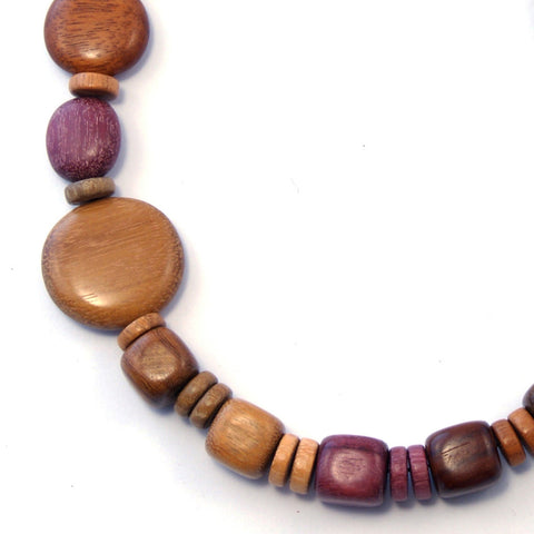 TICA SURF Unique exotic wood necklace - Side oval